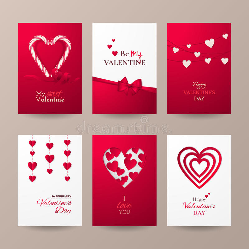Grupo de cartões bonitos para a celebração do dia do ` s do Valentim com bastão de doces, corações, curva e fita ilustração royalty free