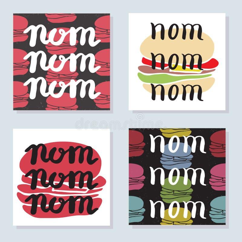 Grupo de 4 cartões brilhantes com o alimento tipográfico ilustração do vetor