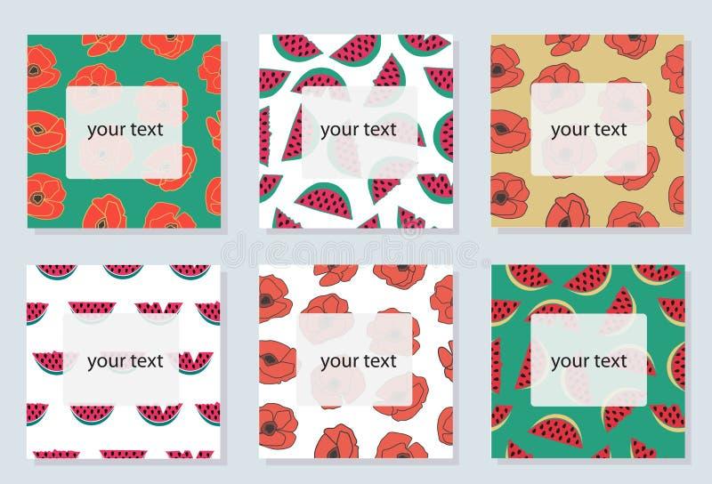 Grupo de 6 cartões brilhantes com símbolos do verão ilustração stock