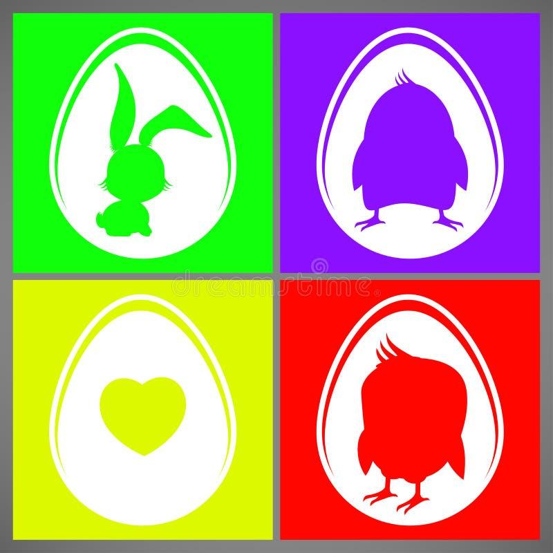 Grupo de cartões colorido feliz da ilustração do vetor de easter com as silhuetas do coelho, da galinha e do coração no ovo ilustração stock
