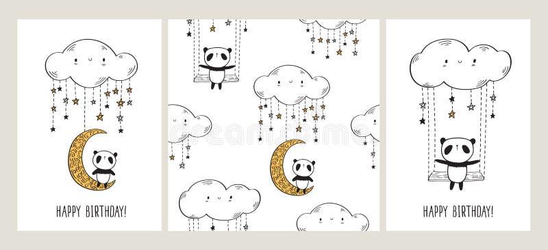 Grupo de cartões com as pandas bonitos na lua e o balanço e o teste padrão sem emenda ilustração do vetor