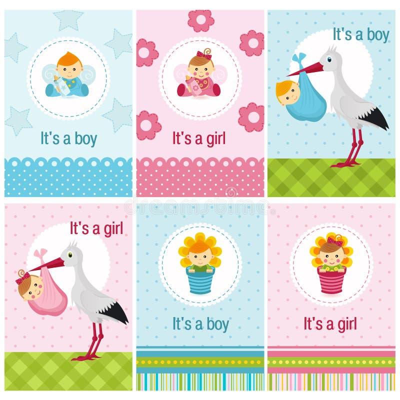Grupo de cartões com bebê e menino ilustração do vetor