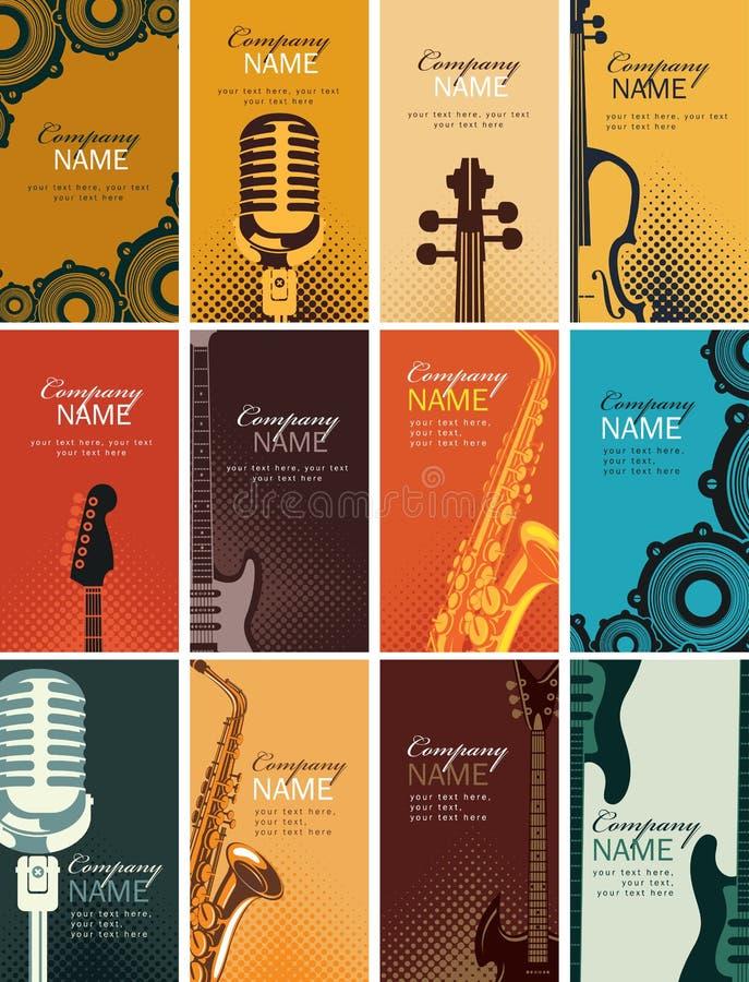 Grupo de cartões com instrumentos musicais ilustração stock