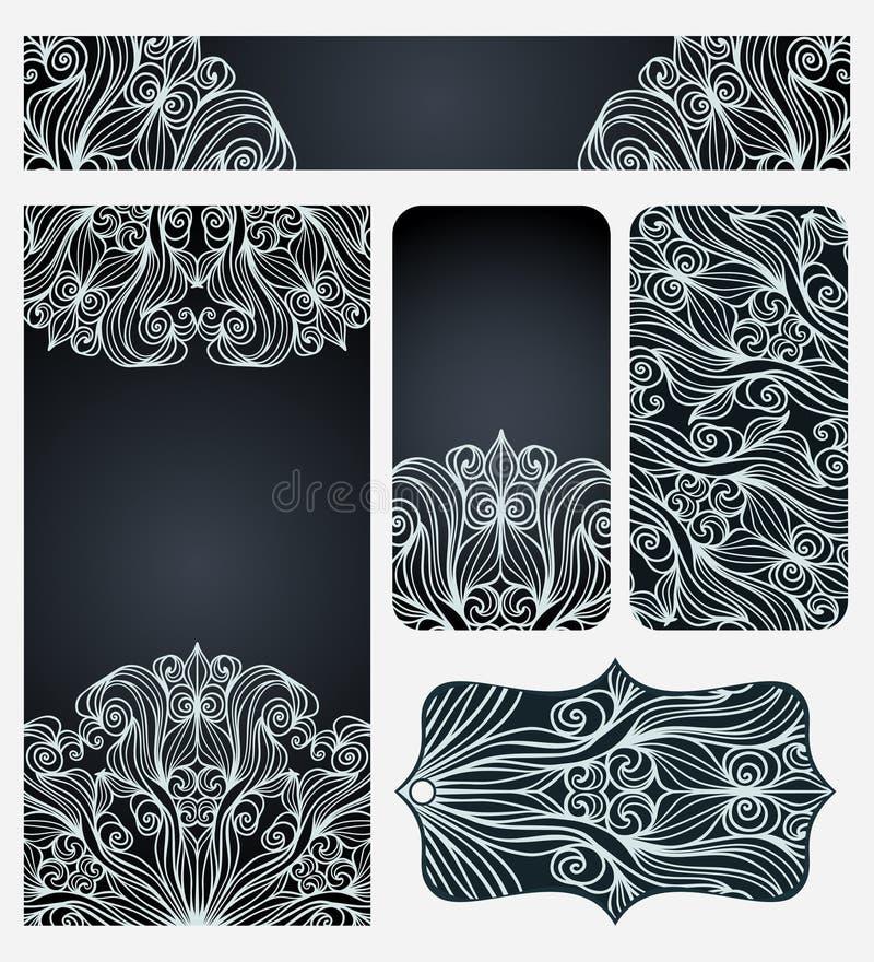 Grupo de cartões com linha elegante Art Pattern ilustração stock