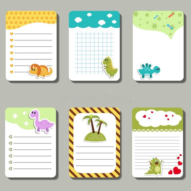 Grupo de cartões criativos bonitos com dinossauros dos desenhos animados ilustração do vetor