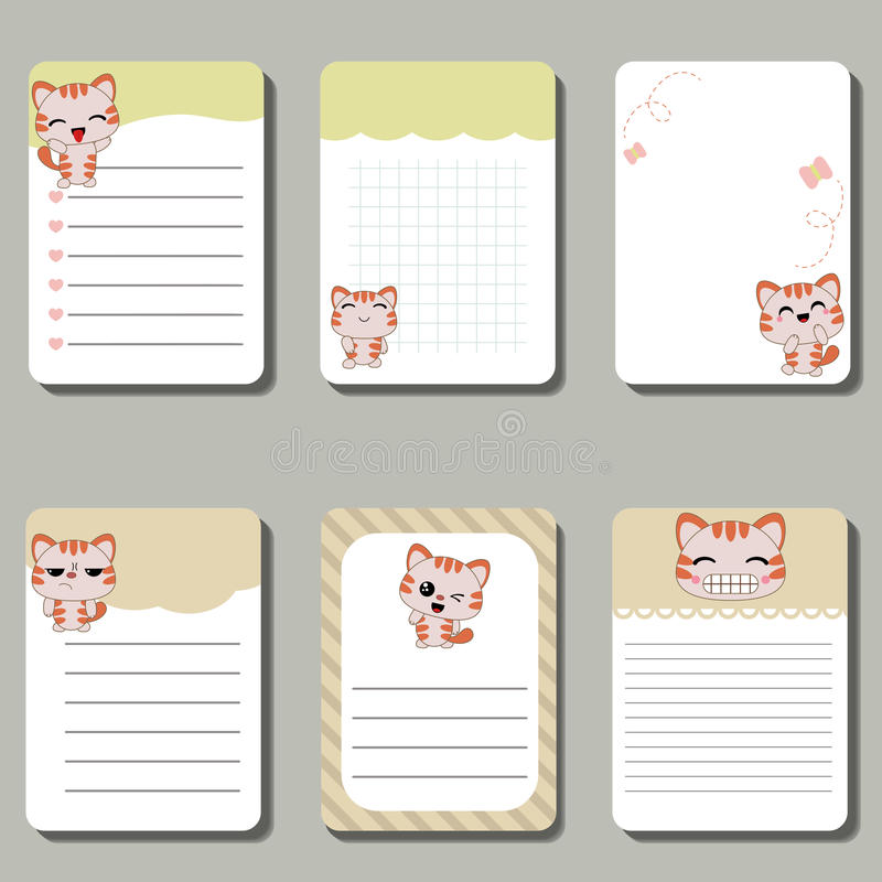 Grupo de cartões criativos bonitos com gatos ilustração stock