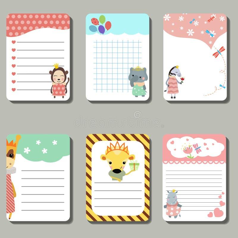 Grupo de cartões criativos bonitos com os animais vestidos como a princesa ilustração royalty free