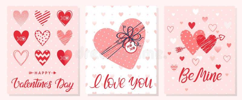 Grupo de cartões criativos do dia de Valentim ilustração do vetor