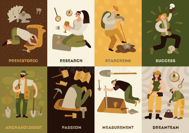 Grupo de cartões da arqueologia ilustração stock