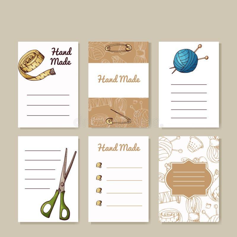 Grupo de cartões da costura Moldes criativos feitos à mão para seu projeto ilustração stock
