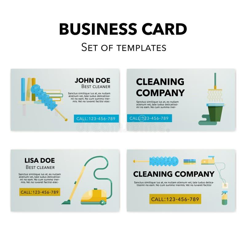 Grupo de cartões da empresa da limpeza ilustração royalty free