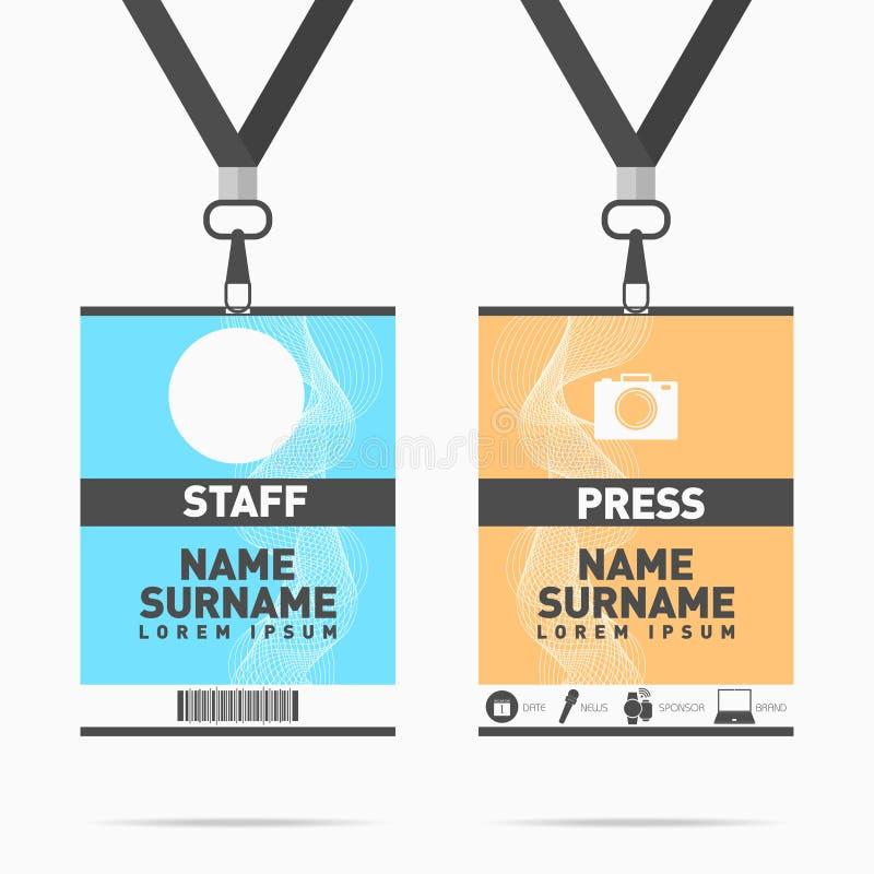 Grupo de cartões da identificação do pessoal e da imprensa do evento com correias Projeto para moldes do suporte de crachá ilustração do vetor