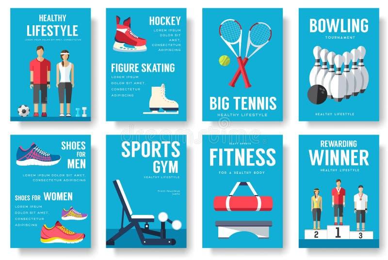 Grupo de cartões da informação do esporte Molde de flyear, compartimentos do estilo de vida, cartazes, capa do livro, bandeiras A ilustração do vetor