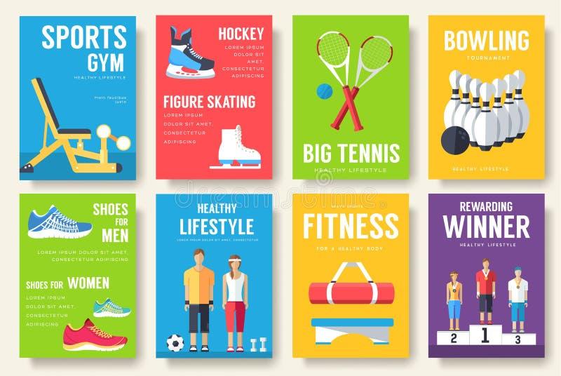Grupo de cartões da informação do esporte Molde de flyear, compartimentos do estilo de vida, cartazes, capa do livro, bandeiras A ilustração stock