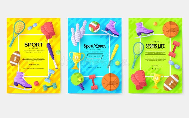 Grupo de cartões da informação do material desportivo Molde da aptidão do inseto, compartimentos, cartazes, capa do livro, bandei ilustração stock