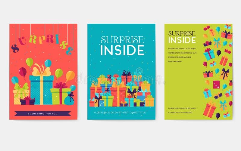 Grupo de cartões da informação do presente Surpreenda o molde de flyear, compartimentos, cartazes, capa do livro, bandeiras Caixa ilustração do vetor