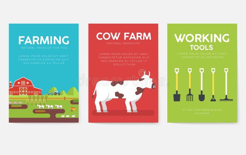 Grupo de cartões da informação da exploração agrícola Molde de flyear, compartimentos da natureza, cartazes, capa do livro, bande ilustração stock