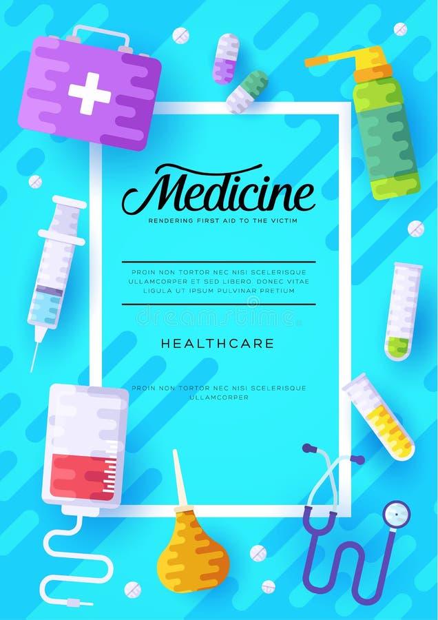 Grupo de cartões da informação da medicina Molde médico do inseto, compartimentos, cartazes, capa do livro, bandeiras Infographic ilustração stock
