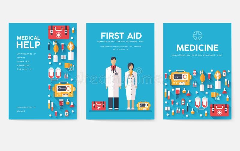 Grupo de cartões da informação da medicina Molde médico de flyear, compartimentos, cartazes, capa do livro Conceito infographic c ilustração stock