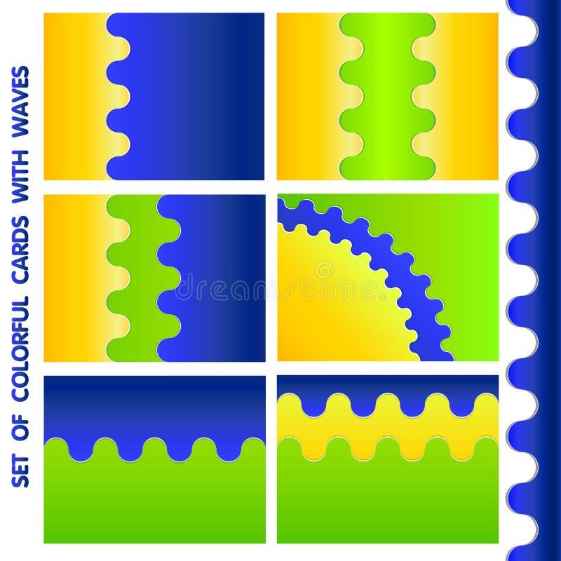 Grupo de cartões da três-cor ilustração stock