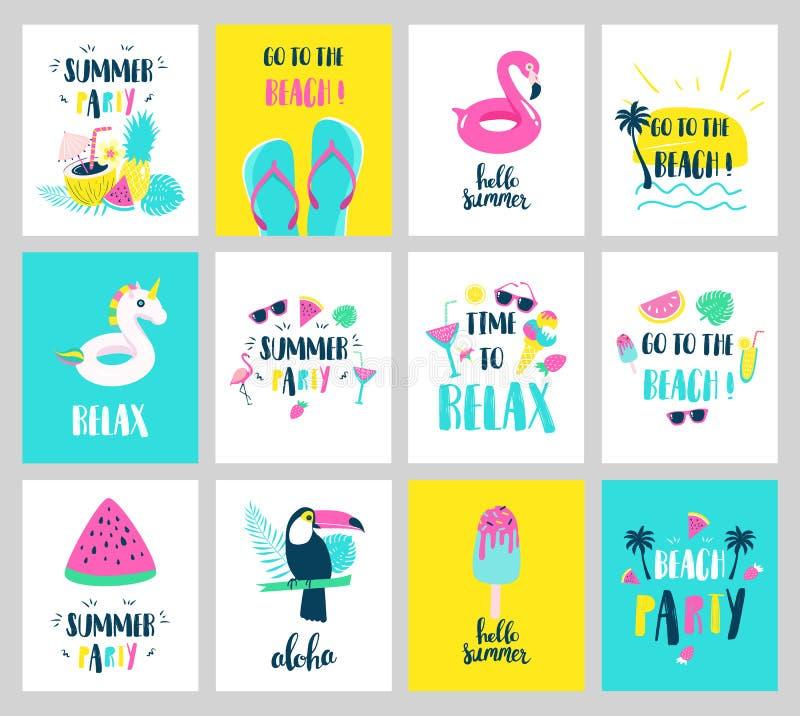 Grupo de cartões das férias de verão Cartazes bonitos tirados mão Vetor ilustração do vetor