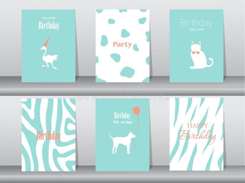 Grupo de cartões de aniversário, cartaz, molde, cartões, bolo, pássaro, ilustrações do vetor ilustração stock