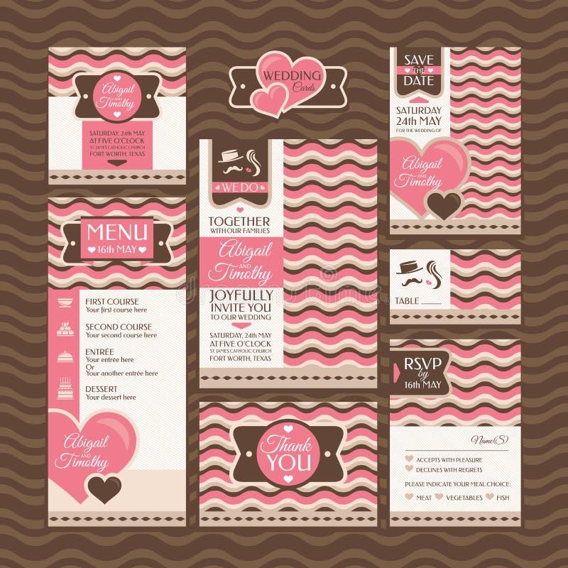 Grupo de cartões de casamento ilustração royalty free
