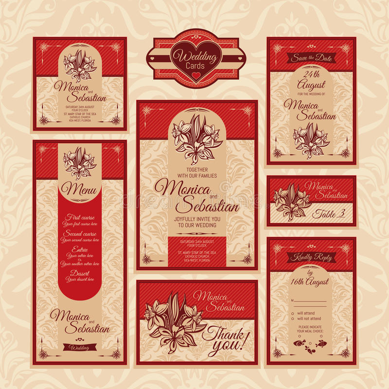 Grupo de cartões de casamento florais ilustração royalty free