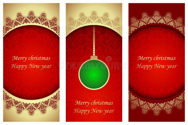 Grupo de cartões de Natal no estilo vitoriano ilustração royalty free