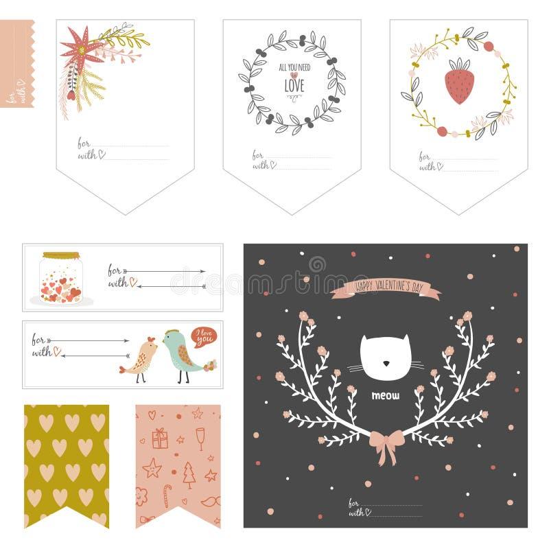 Grupo de cartões, de notas e de etiquetas com bonito ilustração do vetor
