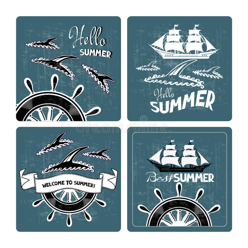 Grupo de cartões de verão com as silhuetas dos golfinhos e dos navios ilustração stock
