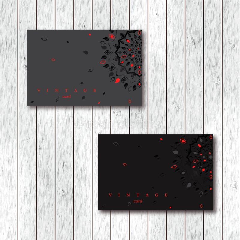 Grupo de cartões decorativos com mandala da folha, preto, cinza, ilustração stock