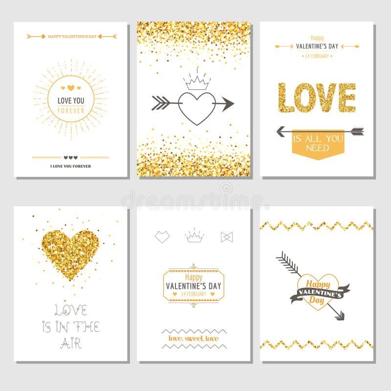 Grupo de cartões do amor ilustração do vetor