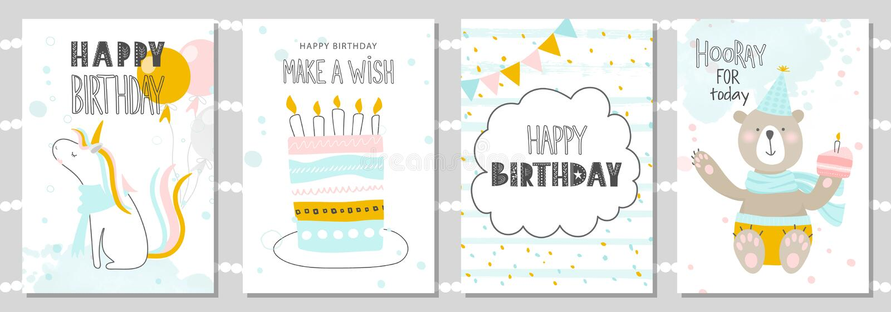 Grupo de cartões do aniversário e de moldes do convite do partido com unicórnio bonito, urso e bolo Ilustração do vetor ilustração stock
