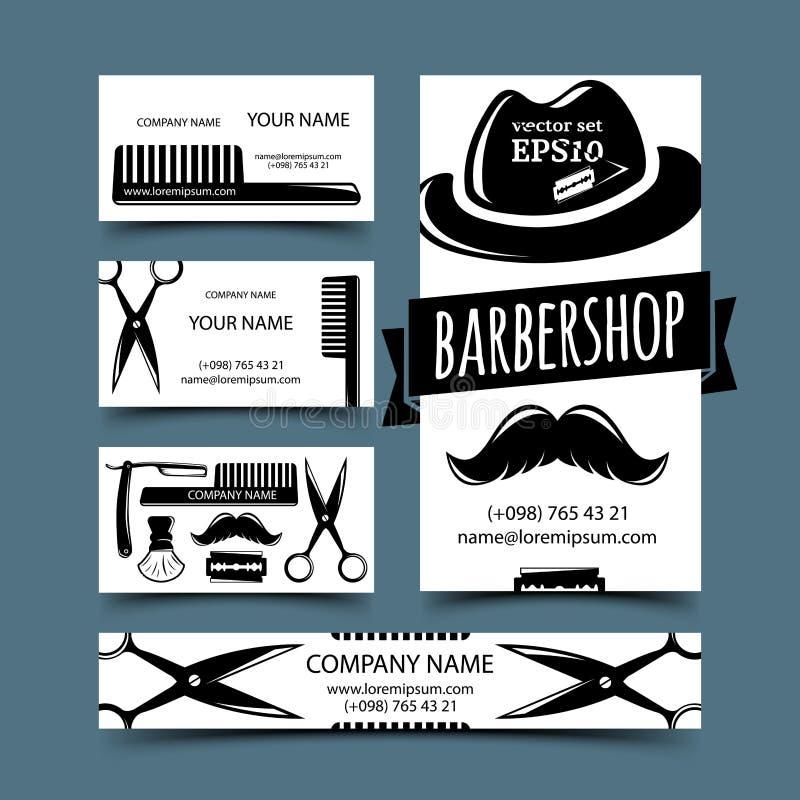 Grupo de cartões do barbeiro ilustração do vetor