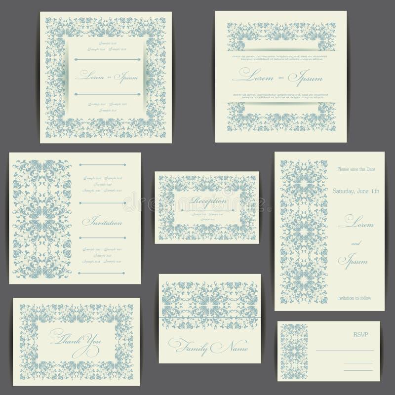 Grupo de cartões do convite do casamento ilustração do vetor