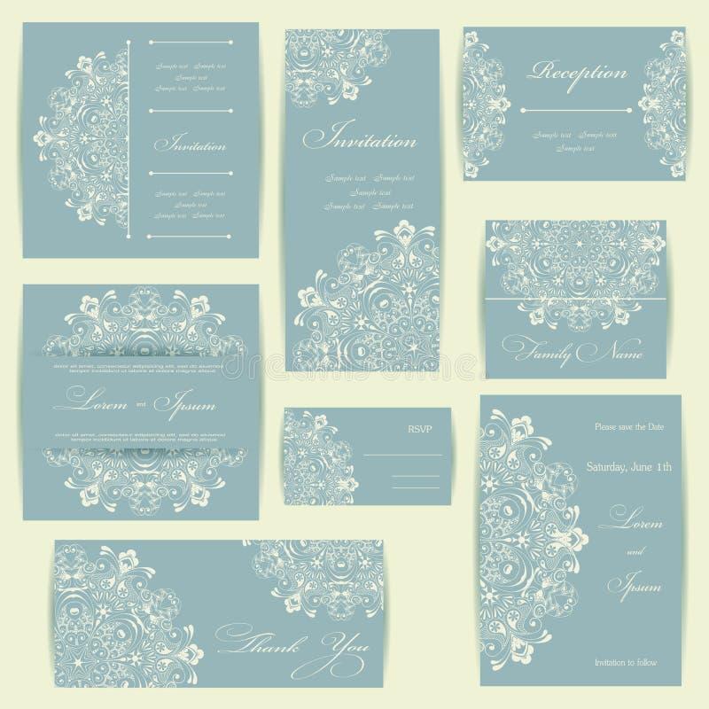 Grupo de cartões do convite do casamento ilustração royalty free