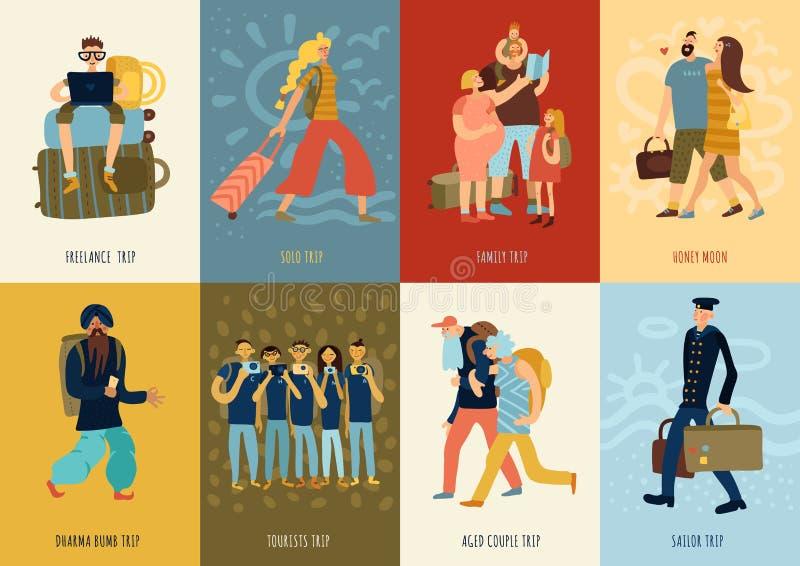 Grupo de cartões do curso ilustração royalty free