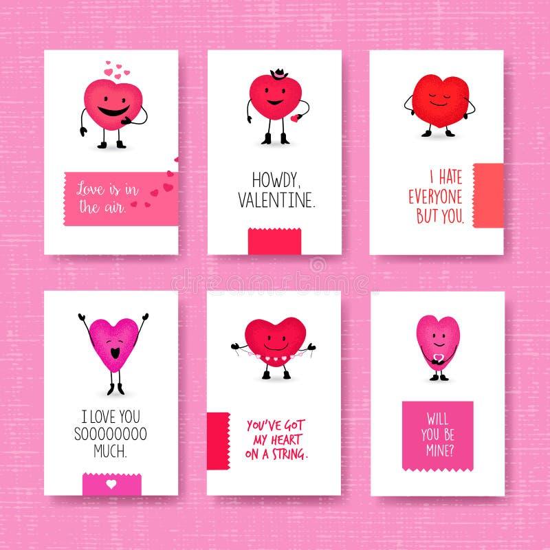 Grupo de cartões do dia do ` s do Valentim com caráteres bonitos do coração ilustração stock