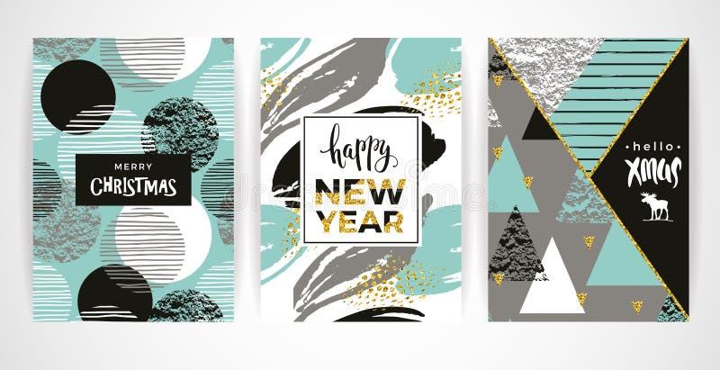 Grupo de cartões do Feliz Natal criativo artístico e do ano novo ilustração do vetor