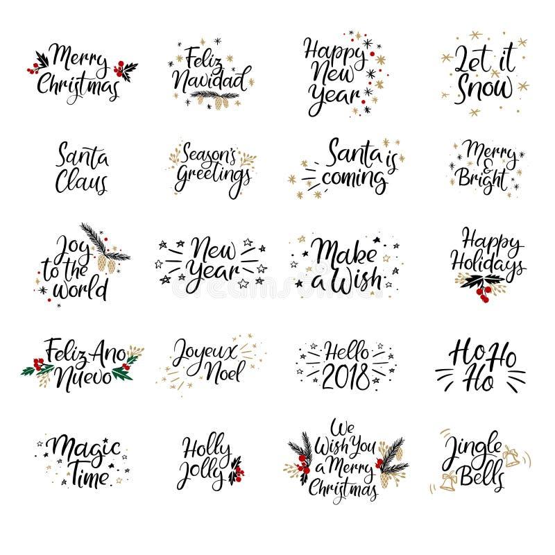 Grupo de cartões do Feliz Natal e do ano novo feliz Caligrafia moderna Rotulação da mão para cartões, folhas de prova da foto ilustração stock