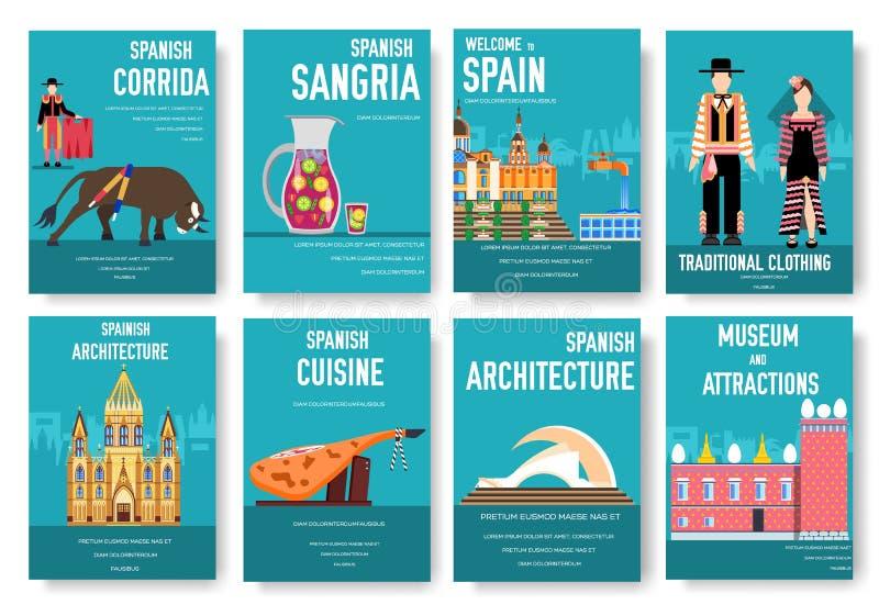 Grupo de cartões do folheto do vetor da Espanha Molde de flyear, compartimentos do país, cartazes, capa do livro, bandeiras Convi ilustração royalty free