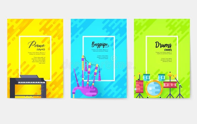 Grupo de cartões do folheto do vetor da música O áudio utiliza ferramentas o molde do inseto, compartimentos, cartaz, capa do liv ilustração do vetor