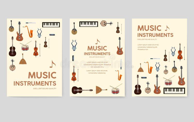 Grupo de cartões do folheto do vetor dos instrumentos de música O áudio utiliza ferramentas o molde de flyear, compartimentos, ca ilustração stock