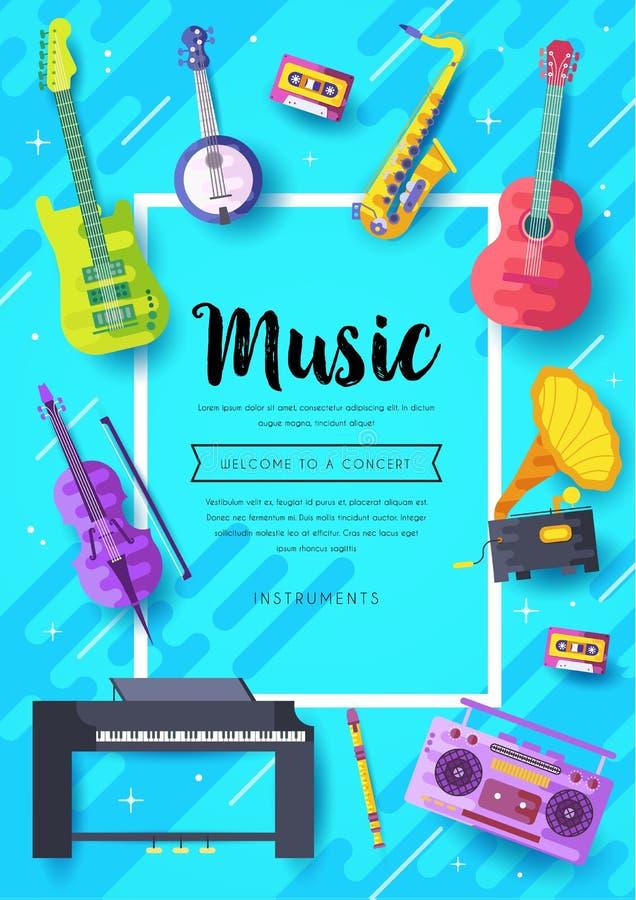 Grupo de cartões do folheto do vetor dos instrumentos de música O áudio utiliza ferramentas o molde de flyear, compartimentos, ca ilustração do vetor