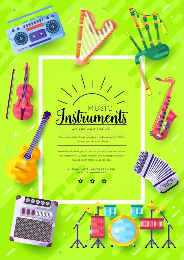 Grupo de cartões do folheto do vetor dos instrumentos de música O áudio utiliza ferramentas o molde de flyear, compartimentos, ca ilustração royalty free