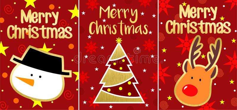 Grupo de cartões do Natal ilustração do vetor