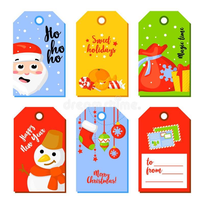 Grupo de cartões do Natal e do ano novo Grupo da etiqueta da etiqueta Ilustração do vetor ilustração do vetor