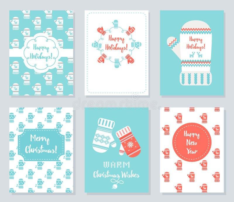 Grupo de cartões do Natal e do ano novo Ilustração feita malha do vetor do tema dos mitenes ilustração stock