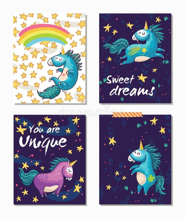 Grupo de cartões do unicórnio Fundo criançola com personagem de banda desenhada ilustração stock